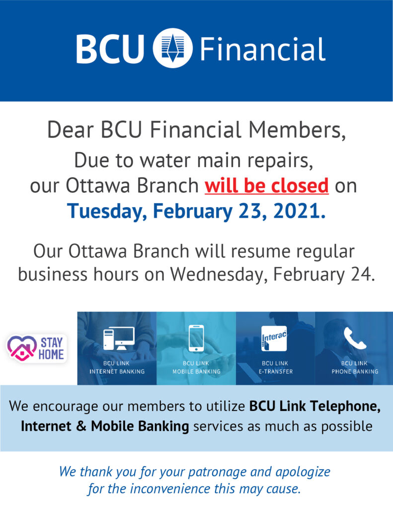 Ottawa branch closed feb 23